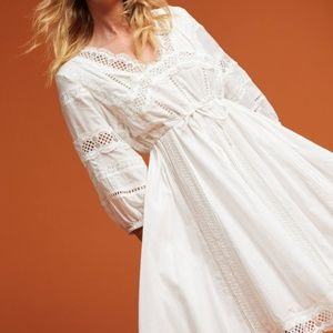 Anthropologie White Lace Boho Peasant Dress S M